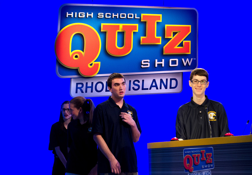 Barrington students Michael Lamontagne (left) and Daniel Sheinberg (right) line up for the lightning round.