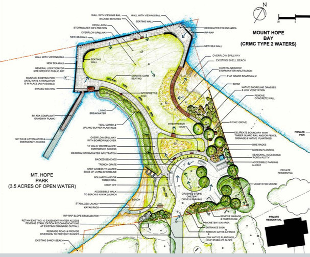 Proposed layout of the Mt. Hope Park which was included in the master plan presented to the Town Council Monday.