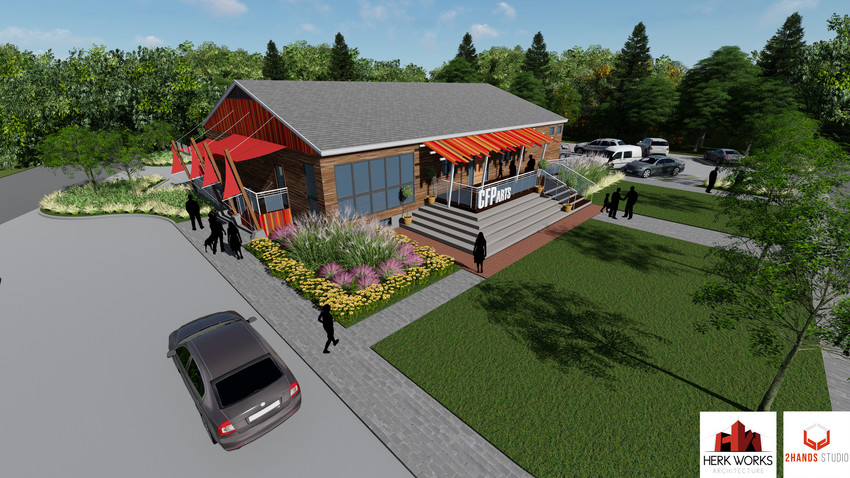 Artist's rendering of what the Common Fence Point Community Hall may look like when renovations are completed.