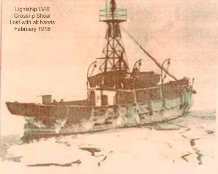 Cross Rip Lightship (LV-6), swept to sea by ice, never to be seen again.