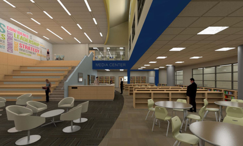 A computer rendering of the new Barrington Middle School's interior.