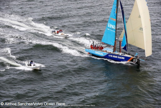 Vestas 11th Hour Racing, skippered by Charlie Enright, seen here arriving at the end of the previous leg in Australia.