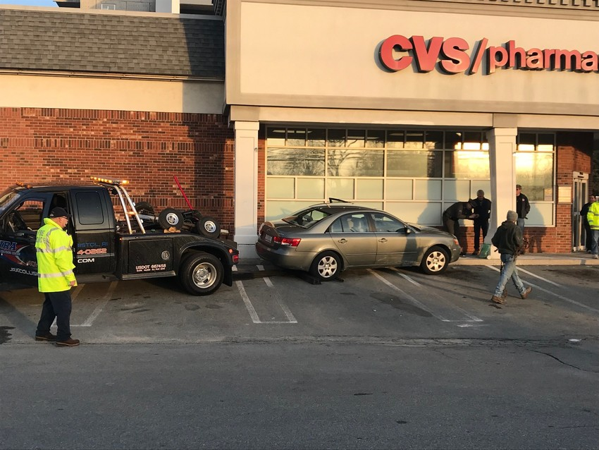 This car somehow rolled onto the sidewalk next to CVS on Metacom Avenue in Bristol.