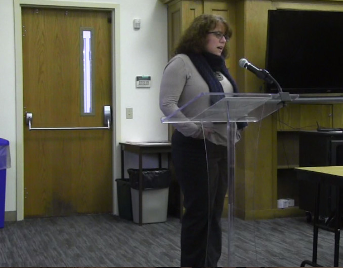 Pam Lauria addresses the superintendent and the school committee during a meeting last Thursday.
