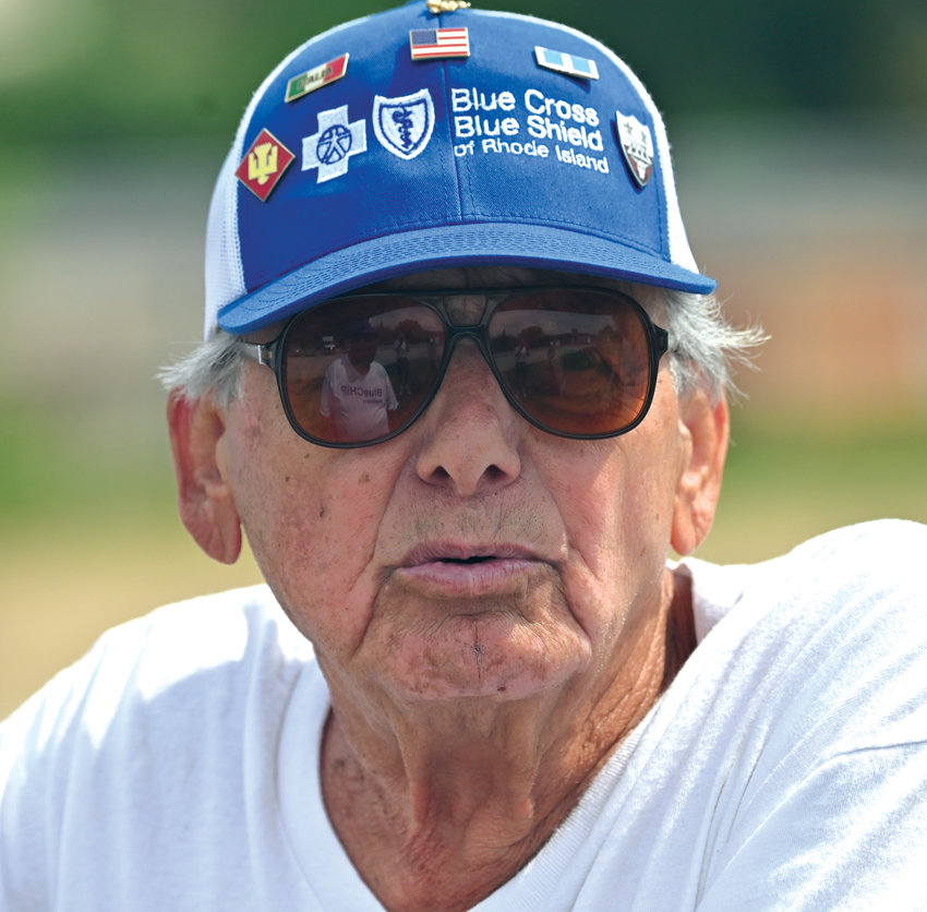 GOING STRONG: Cranston's Joe Giordano, who is one of the founders of the Rhode Island Senior Softball League, watches a game during the 2019 season. Giordano recently turned 90 years old as the league celebrates its 37th year. Giordano, who is currently the manager of the Blue Cross team and a member of the board of directors, still hits the field on occasion as the league's oldest player.