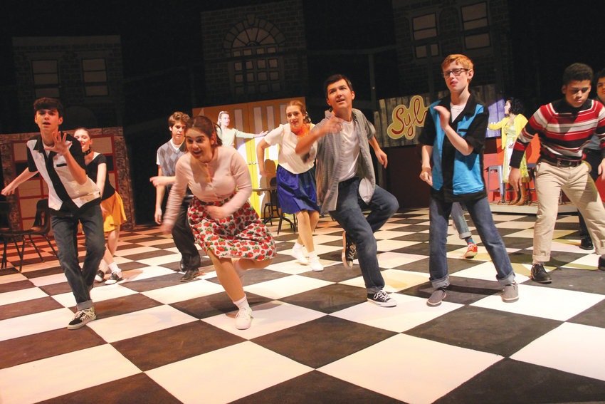 STEPPING OUT TO ALL SHOOK UP: A dance scene from the show All Shook Up with hits by Elvis Presley being presented by the Arts at Hendricken include Thomas Simonetti, Marissa Birmingham, Thomas Jaques, Zach Youngs and David Santana in the first row, Maddie Abood, Luigi Cubellotti and Hannah Wind second row and Liz Barrett and Mira Tapper in the third row.