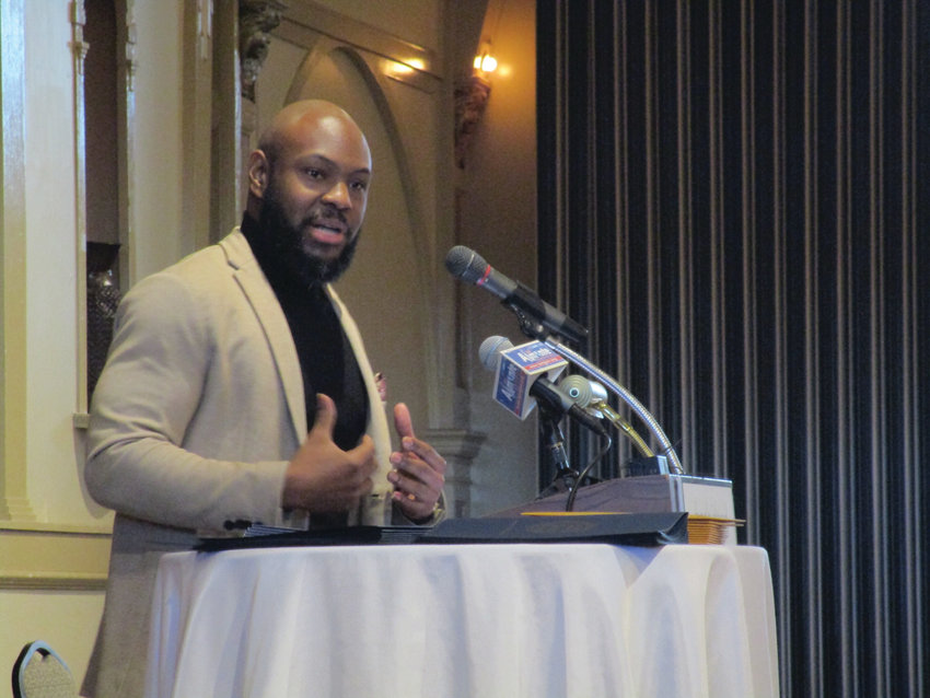 SEEING OPPORTUNITY: Carlon Howard provided the keynote address during Monday's breakfast, pointing to Rhode Island's small size as providing a unique opportunity to affect change.