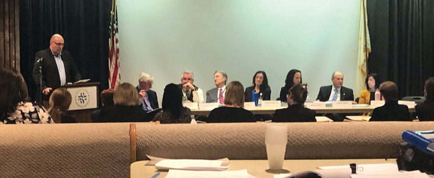 MAKING HIS CASE: Rehabilitation Hospital of Rhode Island CEO Michael J. Souza addresses the Health Services Council during its meeting on Tuesday afternoon. The board would go on to approve Encompass Health's application by a 3-2 vote.