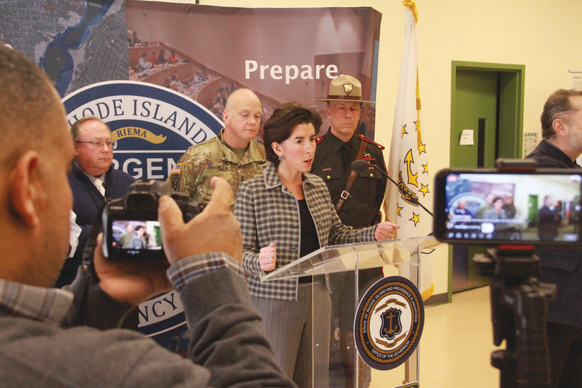 STERN TALK: At Sunday's press conference, Gov. Gina Raimondo didn't sugarcoat the seriousness of the virus and the need to avoid gatherings so as to halt the spread of the disease.