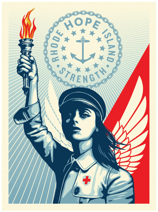"SYMBOL OF HOPE: RISD graduate Shepard Fairey's ""R.I. Angel of Hope and Strength"" is available for free download through the new RIArts.org website."