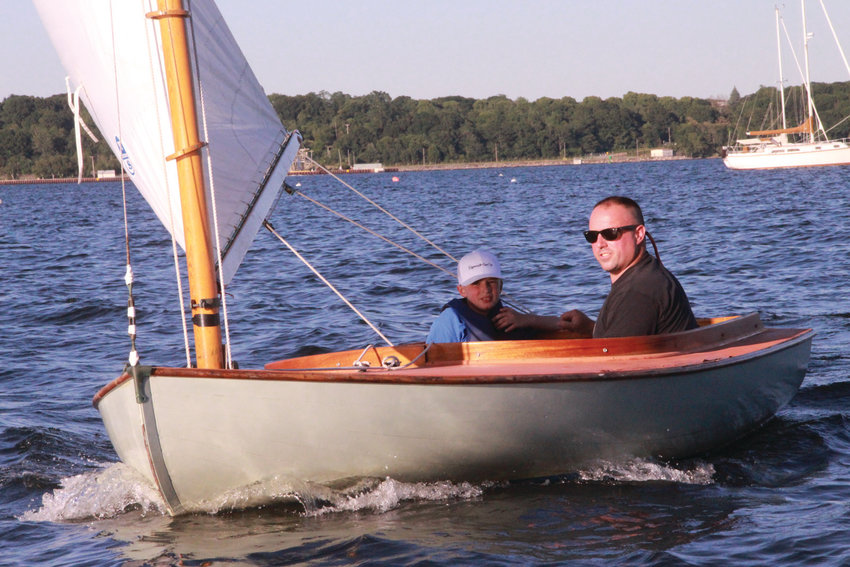 FATHER & SON: Jim and Jackson Bartro complete the race circuit in style.