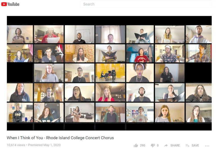 """VIRTUAL VOICES: A total of 32 Rhode Island College students took part   in the Concert Chorus virtual recording of """"When I Think of You"""" in April.   Chorus conductor and professor of music Dr. Teresa Coffman   passed the individual recordings along to student   Jack Zornado, last year's Concert Chorus vice president,   to mix and engineer the piece."""