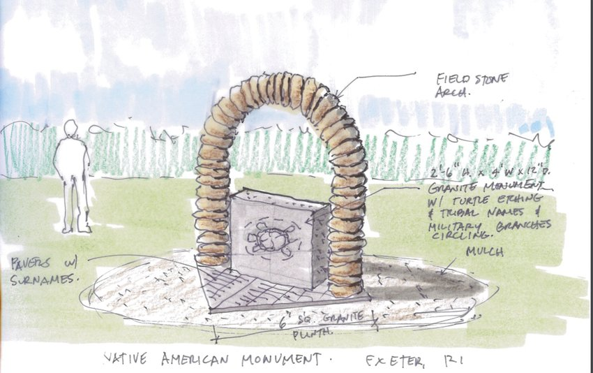 A MONUMENT TO NATIVE AMERICANS: This is a rendering of the monument planned for the Rhode Island Veterans Cemetery. It would contain the insignias of the branches of the armed service and the names of Native American Tribes of the region.