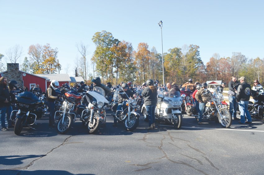 Bikers prepare to ride out at the Tenth Annual Steelhorse Strangers MC Toy Run Stunday..