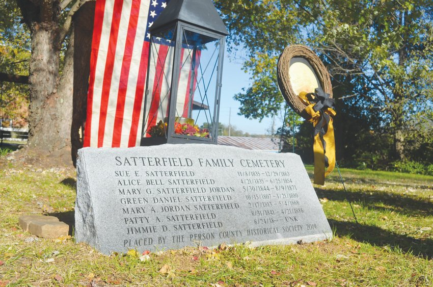 The Person County Historical Society placed a new memorial marker for the Satterfield Family Cemetery Sunday.