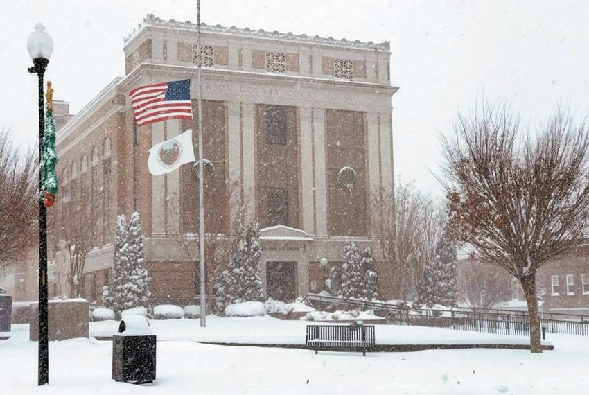 Kayla Martin grabbed this photo of the Person County Courthouse in the midst of Sunday's storm.