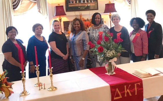 Pictured from left to right: Michelle Tuck Thomas, President of Beta Kappa, Gloria Quick, Co-President of Eta Chapter, Sara S. Cox new initiate Beta Kappa, Mrs. Minnie Forte-Brown, President of the North Carolina School Boards Association, Carla Gilchrist new initiate Eta Chapter, Dr. Nancy Mamlin new initiate Eta Chapter, Jessica Austin Co-President Beta Iota Chapter, and Dr. Robin Gillespie Co-President Eta Chapter. SUBMITTED