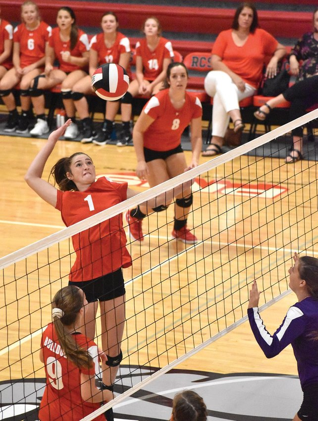 Roxboro Community School's Maci Clark takes a big swing during Monday's match against Oxford Prep. The Bulldogs will host Falls Lake Academy tonight at 6:15 p.m. following the JV game at 5 p.m. The Firebirds are the topranked team in 1-A this week. KELLY SNOW | COURIER-TIMES
