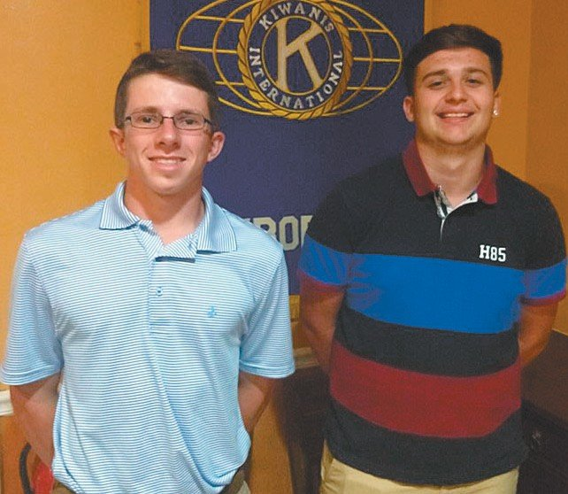 Austin Oakley, left, and Oscar Morales were presented scholarships by the Kiwanis Club. SUBMITTED