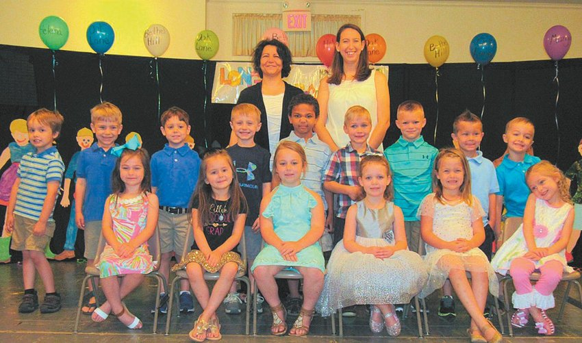 Front row (from left-to-right): Jillian Allen, Lillie Griffin, Baylee Warren, Abigail Buchanan, Isley Lewis and Lenny Greene. Middle row (from left-to-right): Nathan Windsor, Jack Cates, Owen Solomon, Mason Warren, Trevor Newkirk, Jase Myers, Mason Hurdle, Colten McAdams and Casen Burke. Back row (from left-to-right): Teachers Isabelle Blick and Sarah Illsley.
