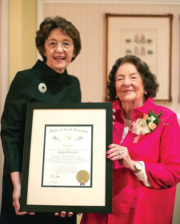 Dr. Rosalie Gates was recently presented the Order of the Long Leaf Pine by North Carolina Secretary of State Elaine Marshall.