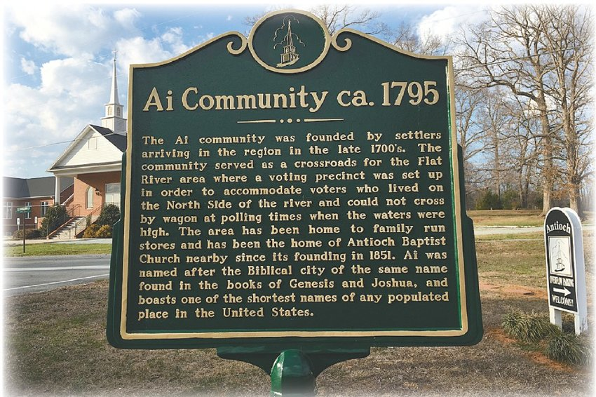 The historical marker unveiled in 2015 gives details on the history of Ai.