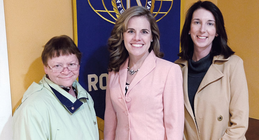 From left, Cynthia WIlson, Tanya Evans and Amanda Morrow, all played a role in the Roxboro Kiwanis Club's meeting last week.