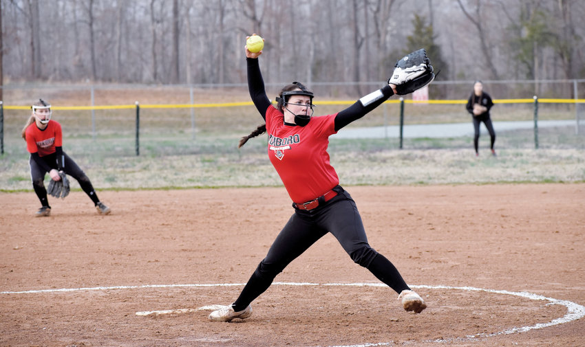 Kelly Snow | The Courier-Times.Roxboro Community School softball pitcher Karsin Lee, shown here in a game earlier in the season, tossed a no-hitter in the Bulldogs victory against Franklin Academy last week.