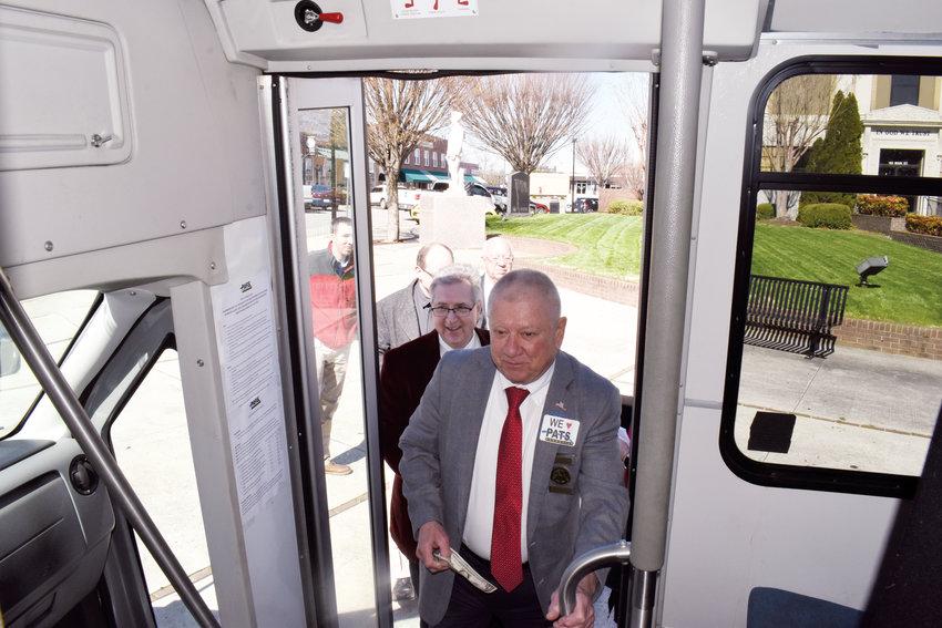 Roxboro City Council boards Person Area Transportation System new Roxboro Shuttle.