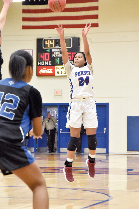 File.Aaliyah Jones, sophomore and All-Mid-State Conference recipient, is pictured taking a jumper during a game early in the season.