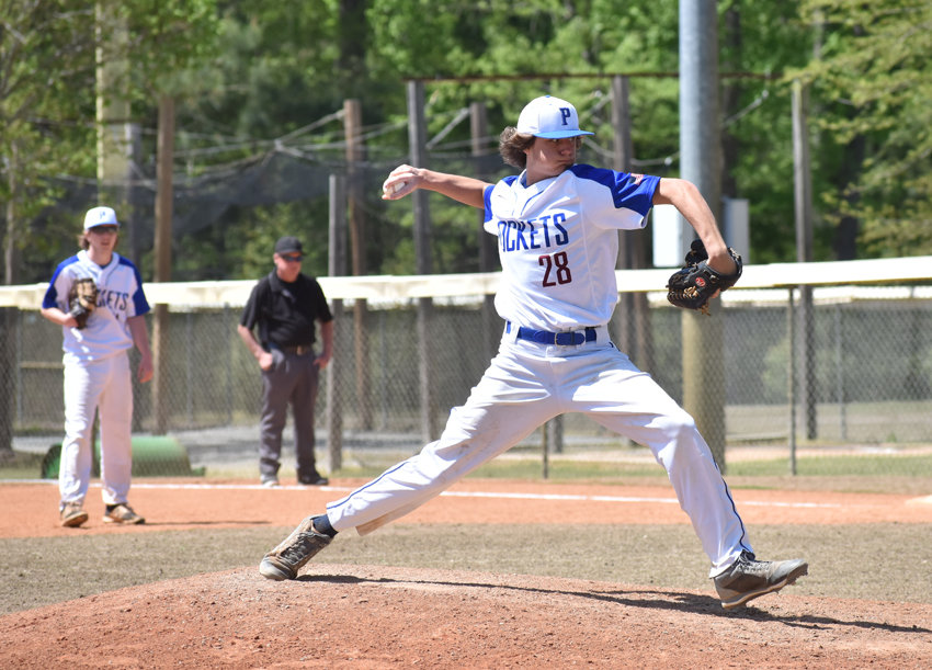 Person's Jedd Whitfield tossed a complete-game, three-hit shutout to lead the Rockets past Oxford Prep in the first game of the Oxford Spring Break Tournament at Granville Athletic Park.