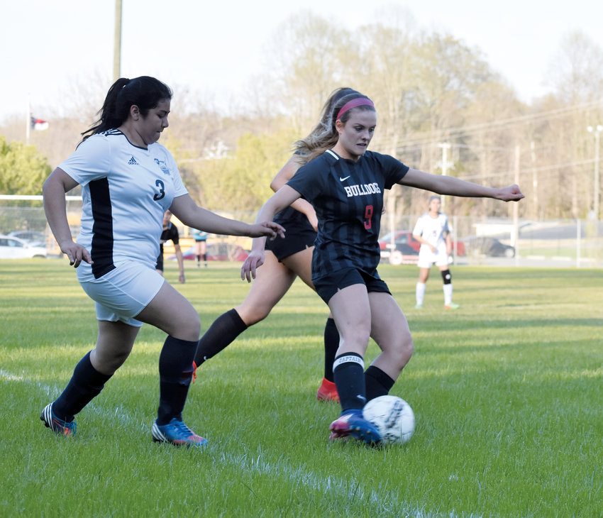 Kelly Snow | The Courier-Times.Roxboro Community School's Eryka Vanek, shown here during a game earlier in the season, scored a goal in the Bulldogs' victory against East Wake Academy Monday at home.