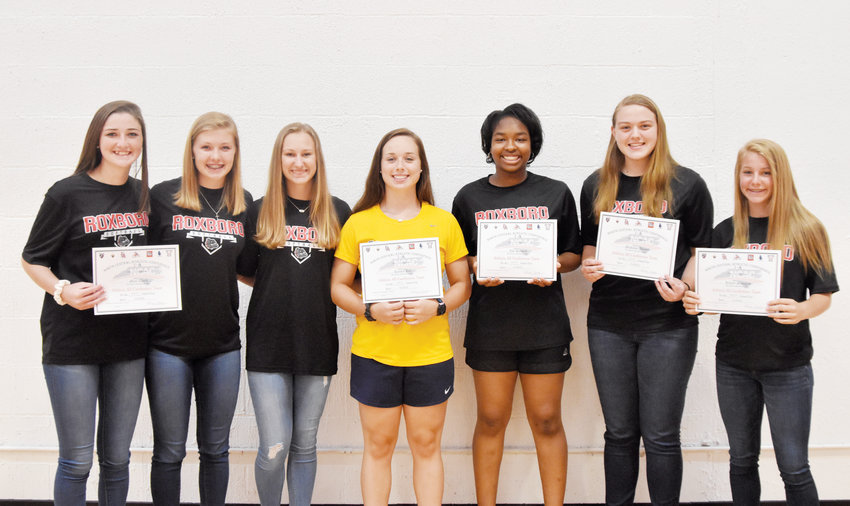 Kelly Snow | The Courier-Times.Roxboro Community School softball players (left-to-right) Maci Clark, Karter Hawkins, Ashton Evans, Karsin Lee, Zoe Russell, Madison Adams and Kelcey Mangum earned individual honors from the North Central Athletic Conference softball coaches.