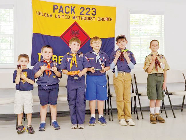 The first place winners in the Pack 223 Pinewood Derby included Hayden Chambers, Tripp Regan, Ryan Sharlow, Logan Seal, Noah Nobles and Noah Brunelle.