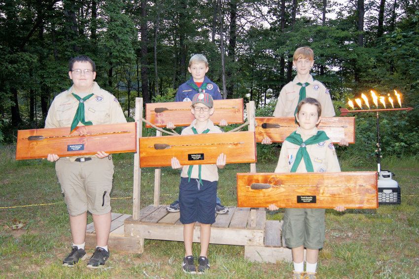 Pac 223 Cub Scouts recently earned their Arrow of Light awards. Pictured from left, are Kenden Lawrence, Kaiden Denny, Noah Brunelle, Timothy  Dickerson and Jacob Nobles.