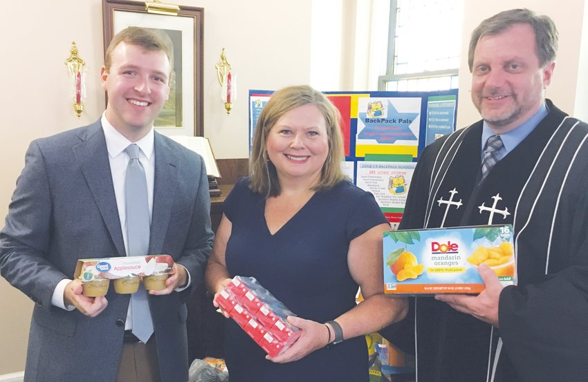 Pictured, from left, Austen Byerly, Student Intern; Pam Day, Long Memorial Youth Director; and the Rev. Ed Priestaf.