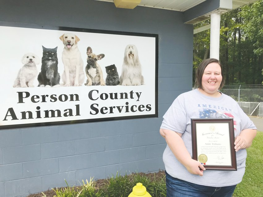 Nikki Williams was recognized July 22 as a recipient of the Governor's Volunteer Award. She has volunteered with the Person County Animal Services since 2011.