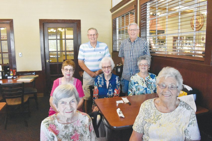 Members of the Bethel Hill Class of 1955 gathered Tuesday at Golden Corral to mark their 64-year reunion.There are 11 members of the class remaining. The graduating class had 29 members. Pictured below are, front row from left, Marlene Clayton Coulter and Doris Oakley Moore; second row, from left, Louise Dickerson Pleasant, Jean Lowery Oakley and Nannie Zimmerman Lipscomb; and Bill Oakley and Hilton Hawkins. Not pictured are classmates Calvin Boyd, David Good, Barbara Gentry Lynds and Reba Lowery Glasscock.