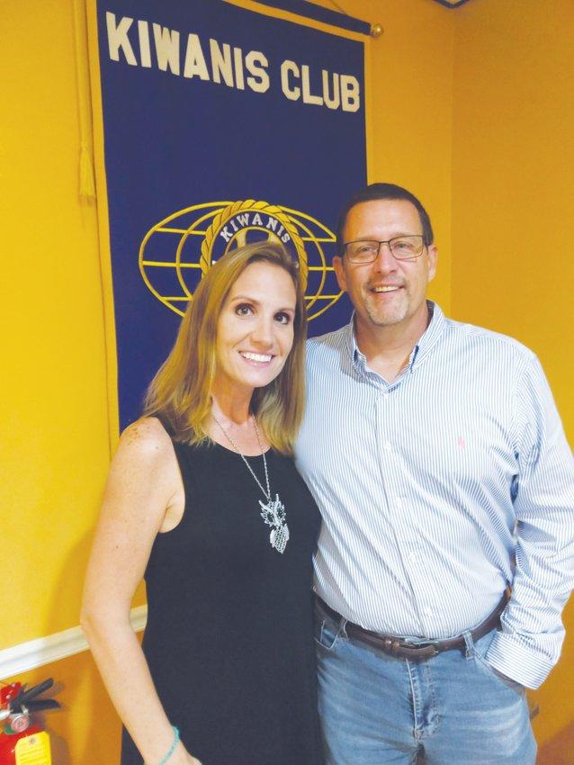 Polywood officials Stavey DeBaun, left, an Dave Grider, spoke to the Roxboro Kiwanis Club last month.