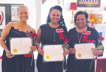 New Beta Kappa chapter members, from left, are Robin C. Laws, Michale A. Lindon and Renée Y.Price.  Not pictured are new Eta chapter members: Minnie Forte-Brown, Angela Teal, Leah Pompey and Rosalind Y. Garmon.