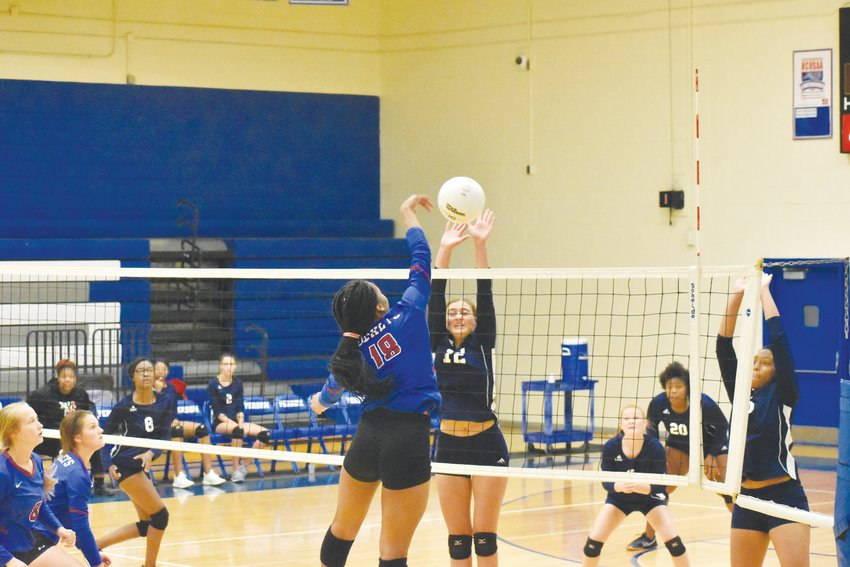 Person's Aaliyah Jones completes a kill against Northeast Guilford in Thursday night's contest.