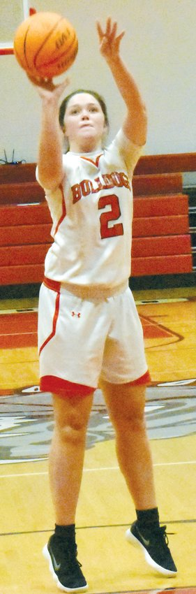 Paige Melton (2) shoots a free throw in the third quarter of Wednesday night's contest against Eno River Academy.