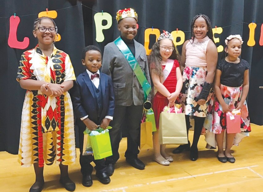 Contestants in the 2019 Little People on Revue included, from left, Nevah Nelson (2nd Place for Queen),  Brandon (B.J.) Smith, Jr. (2nd Place for King), King Robert Edwards Jr., Queen Makynzley Whitt, Leah Bryant and Jorei Rucker.