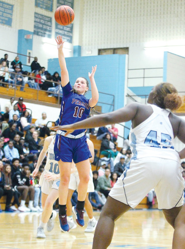 Rockets forward Madison Dunkley (10) puts up a shot in last Friday's game at Halifax County.