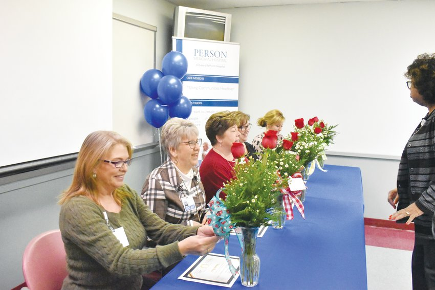 Five nurses at Person Memorial Hospital were recognized Friday for their efforts to update their nursing status. Picture, from left, are Wanda Birch, Patsy Clayton, Dawn Wilkerson, Lisa Hodges and Renee Holt.