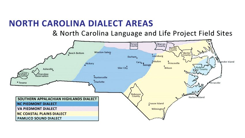 North Carolina's dialect areas and project field sites as mapped by the Language and Life Project. Person County is part of the Virginia Piedmont dialect area.