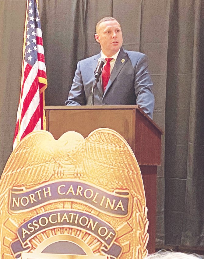 Roxboro Chief of Police David Hess speaks after being sworn in as NCACP president.