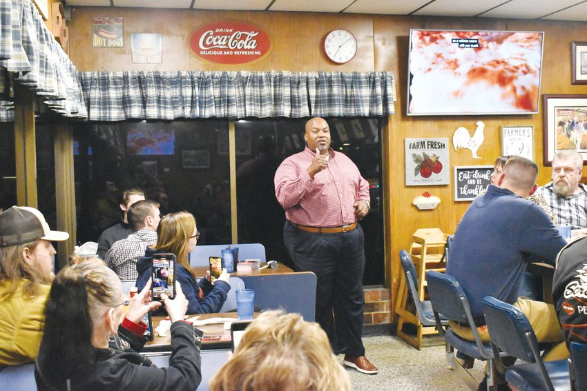 Republican candidate for Lt. Gov Mark Robinson spoke to a group of supporters Monday night at Timberland Restaurant.