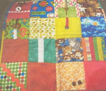 "Shown is a ""fidget blanket"" as a sample of those which will created by those who attend the Intergenerational Fidget Day Workshop at Elijah Grove Baptist Church."