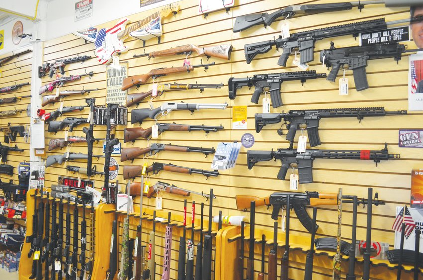 A variety of guns are on display at Rock City Guns in Uptown Roxboro.